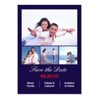 4 Photos Vertical - Navy Blue Save the Date Card
