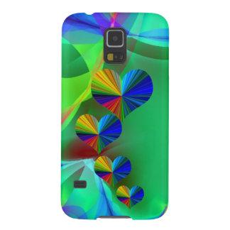4 Rainbow Hearts Green Fractal Background Galaxy S5 Case