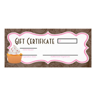 "4""x9"" Gift Certificate Cup Cakes Bakery Sweet Trea Customized Rack Card"