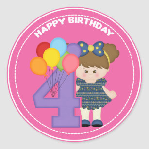 4 Year Old Girl Birthday Sticker