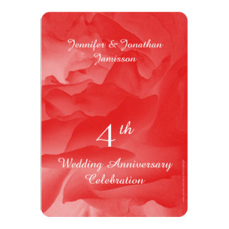 4th Anniversary Party, Coral Pink Rose Petals 13 Cm X 18 Cm Invitation Card