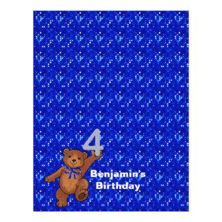 4th Birthday Dancing Bear Scrapbook Paper 3 Full Color Flyer