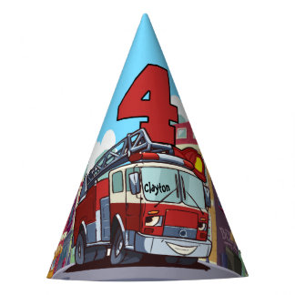 4th Birthday Fire Truck Party Hat