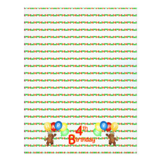 4th Happy Birthday Bear Scrapbook Paper 5 Full Color Flyer