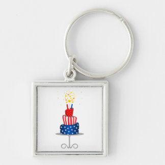 4th July Celebration Cake in Red, White and Blue Key Ring