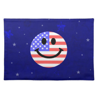 4th of July American Flag Smiley face Placemat