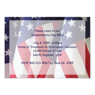 4th of July Barbeque Invitation, American Flags Card