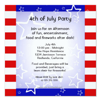 4th of July Bbq / Party Invitation Red White Blue