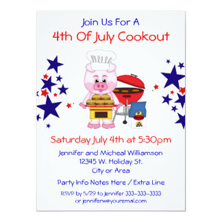 4th of July Cookout Funny Pig Hamburgers and Stars 6.5x8.75 Paper Invitation Card