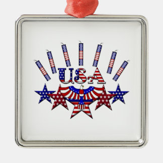 4th of July Crackers Silver-Colored Square Decoration