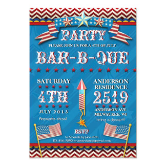 4th of July Festive BBQ Party Invitation