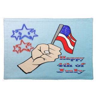 4th of July - Hand Holding Flag American MoJo Plac Placemat
