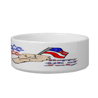 4th of July - Hand Holding Flag Cat Pet Bowl