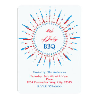4th of July Independence Star Frame Invitations