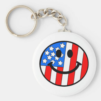 4th of July Smiley Key Ring