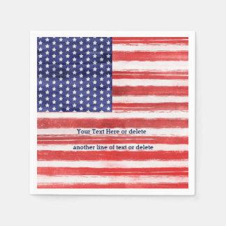 4th of July USA Flag Patriotic Art Stars & Stripes Disposable Serviettes