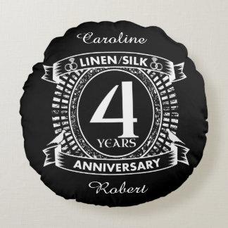 4th wedding anniversary distressed crest round cushion