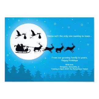 4x6 TWINS Christmas Pregnancy Announcement- Town 11 Cm X 16 Cm Invitation Card