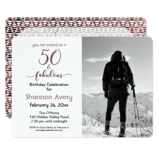 50 and Fabulous Party with Faux Rose Gold & Photo Card