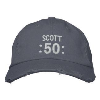 50 Birthday Custom Name BLUEand WHITE V66F Baseball Cap