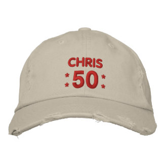 50 Birthday Custom Name RED and NATURAL V66E Embroidered Hats