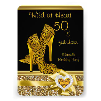 50 & fabulous Leopard Wild at Heart High Heels Custom Invite