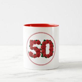 50 Number 50th Birthday Anniversary red mug