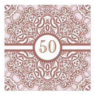 50 wedding anniversary damask invitations