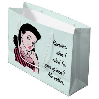 50s Woman Sarcasm Large Gift Bag