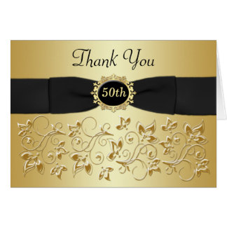 50th Anniversary Black Gold Floral Thank You Card