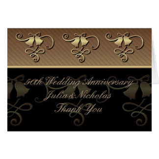 50th Anniversary Gold and Black Thank You Card