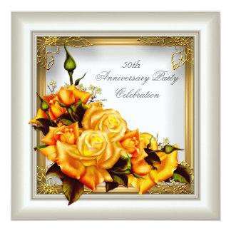 50th Anniversary Gold Orange White Ivory Elegant Card