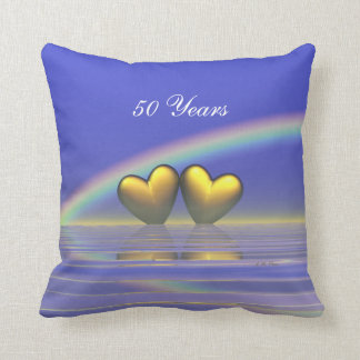 50th Anniversary Golden Hearts Throw Pillow