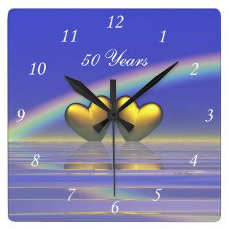50th Anniversary Golden Hearts Wall Clocks