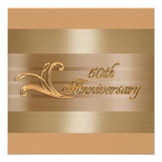 50th anniversary invitation gold red