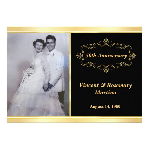 50th Anniversary Party - Elegant Photo Invitations