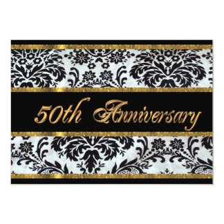 50th anniversary party invitation black damask