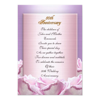 50th anniversary party invitation lavender roses