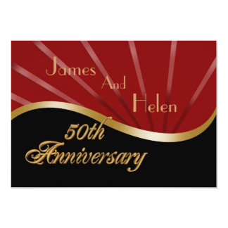 50th anniversary party invitation wedding gold red