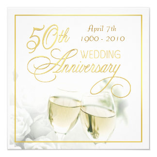 50th Anniversary Party Invitations - Square
