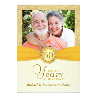 50th Anniversary Photo Invitations Vintage Damask