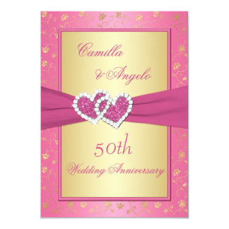 50th Anniversary Pink and Gold Joined Hearts Card