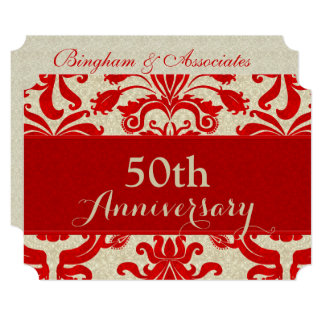 50th Anniversary Red and Taupe Damask Business Card