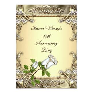 50th Anniversary Wedding Cream Rose Gold 11 Cm X 16 Cm Invitation Card
