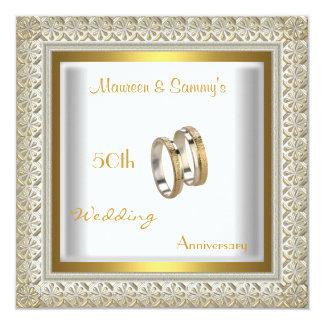 50th Anniversary Wedding White Gold Elegant 13 Cm X 13 Cm Square Invitation Card