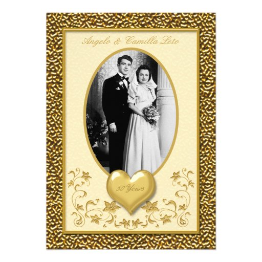 50th Anniversary with Gold Heart Invitation