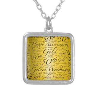 50th Anniversary Word Art Graphic Silver Plated Necklace
