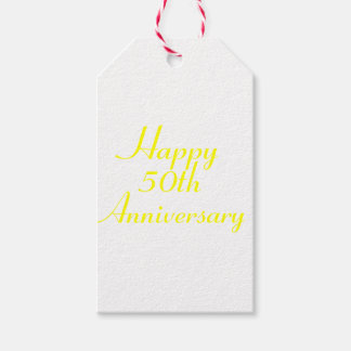50th Anniversary Yellow Text Gift Tags Template