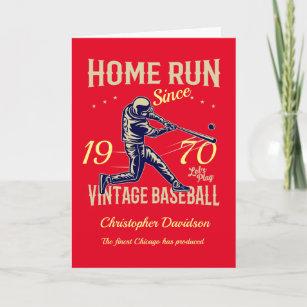 50th birthday Born 1970 Vintage Baseball Men Red Card