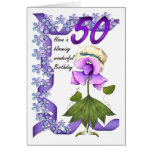 50th Birthday Card with Moonies cute bloomers,
